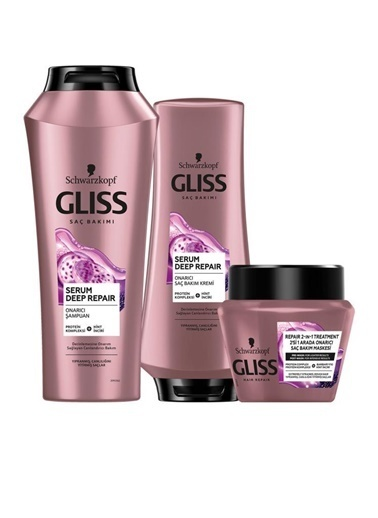Gliss Gliss Serum Deep Repair Onarıcı Şampuan 500 Ml+Saç Kremi 360 Ml+Saç Maskesi 300 Ml Renksiz